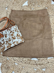 suede skirt tan