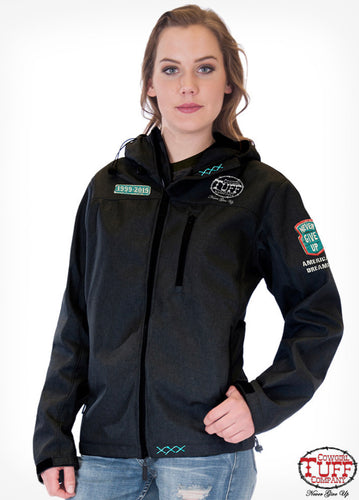 BLACK MICROFIBER JACKET WITH EMBROIDERED PATCHES cowgirl tuff