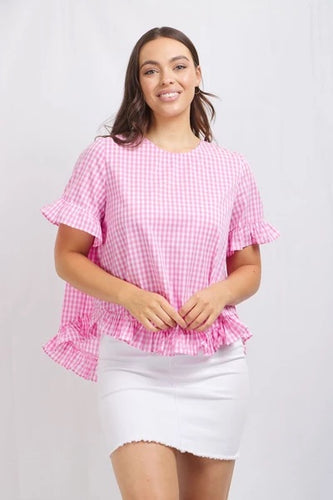 Pink gingham frill top