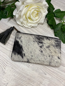 York cowhide coin/ clutch black