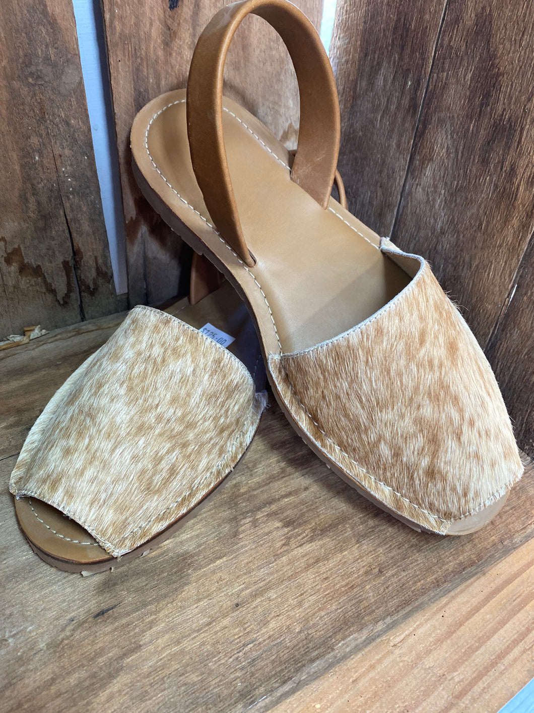 Sling back cowhide shoes tan size 41