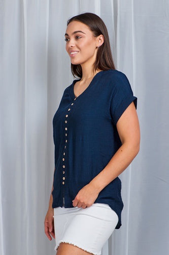 Capped sleeve navy button down top