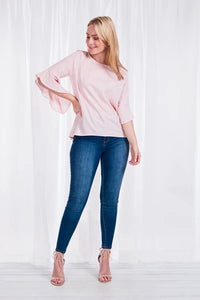 Dusty pink frill top