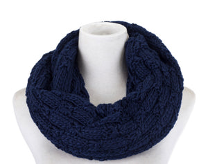 Scarf knit snood navy