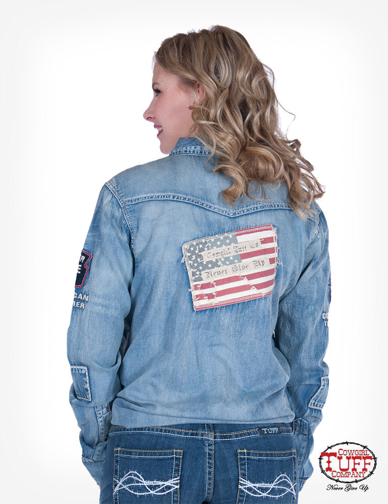 LIGHTWEIGHT MEDIUM WASH DENIM BUTTON-DOWN WITH PATCHES cowgirl tuff arena top