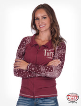 RED AND BANDANA LONG SLEEVE TRACK JACKET WITH COWGIRL TUFF COMPANY® CHEST EMBROIDERY
