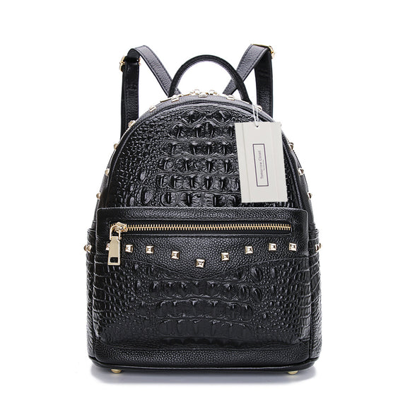 Women's cowhide leather backpack in crocodile print Rivet design by Tomorrow Closet