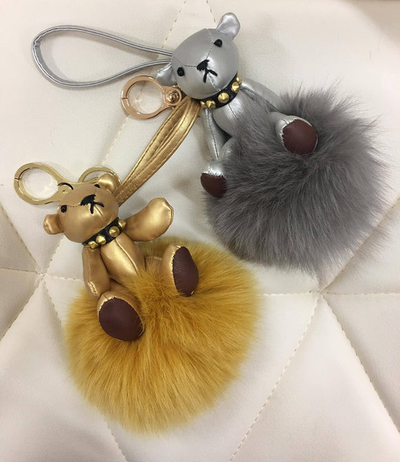 Limited edition Bear with fur ball bag charm silver/gold color by Tomorrow Closet