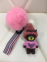 Load image into Gallery viewer, Beanie bear with fur ball bag charm by Tomorrow Closet