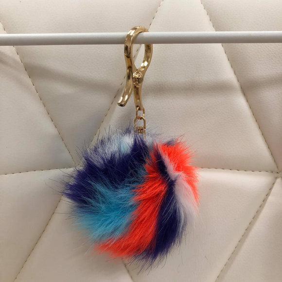 Rainbow fur ball bag charm by Tomorrow Closet