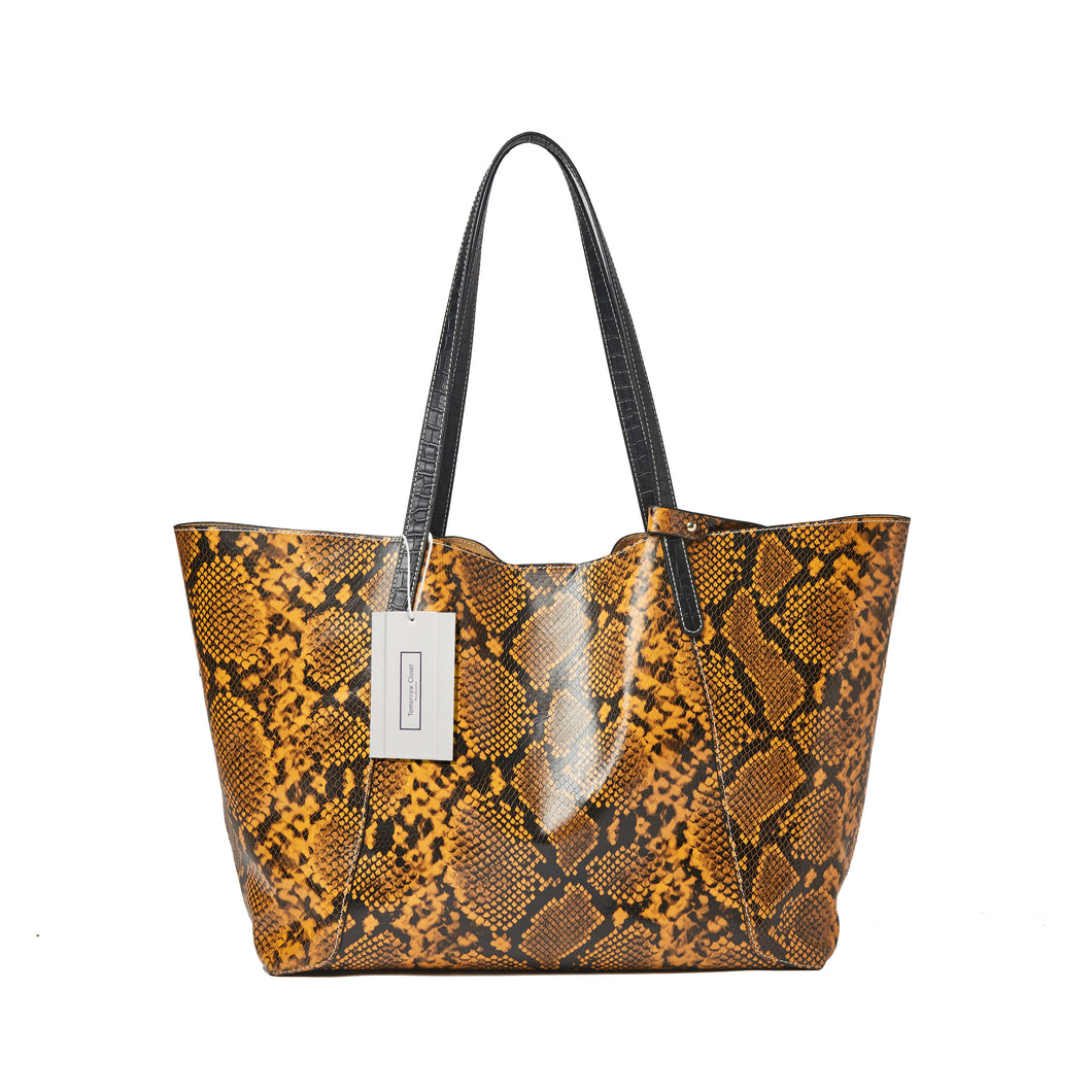 Women's leather Shopping Tote in python print by Tomorrow Closet