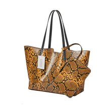 Load image into Gallery viewer, Women's leather Shopping Tote in python print by Tomorrow Closet