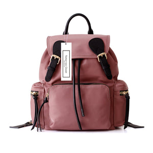 Women's nylon mix leather backpack zaino design by Tomorrow Closet