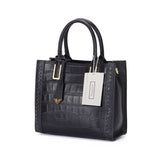 Women's genuine cowhide leather handbag Potter design in crocodile print by Tomorrow Closet