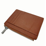 Unisex genuine cowhide leather card holder with zip by Tomorrow Closet