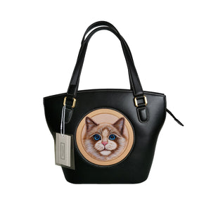 Women's genuine cowhide leather engraved handbag Shopping tote design by Tomorrow Closet