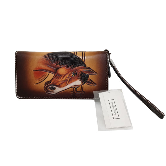 Women's genuine cowhide leather engraved wallet with wrist strap Zip design by Tomorrow Closet