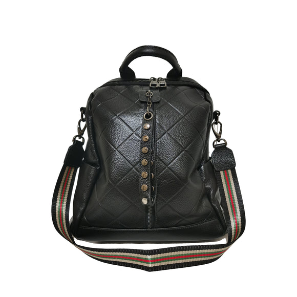 Women's and Men's unisex cowhide leather Diamond V2 design backpack by Tomorrow Closet
