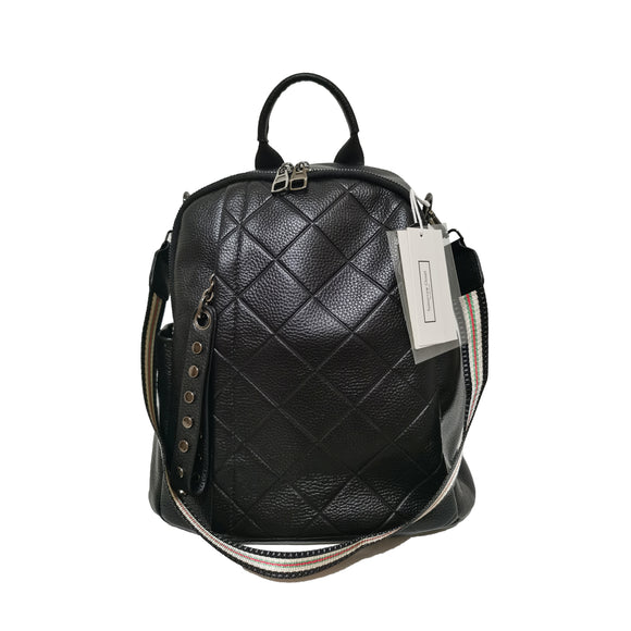 Women's and Men's unisex cowhide leather Diamond design backpack