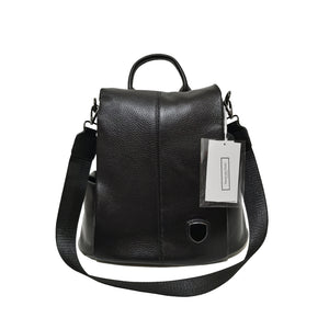 Women's and Men's unisex cowhide leather Flap design anti theft backpack by Tomorrow Closet