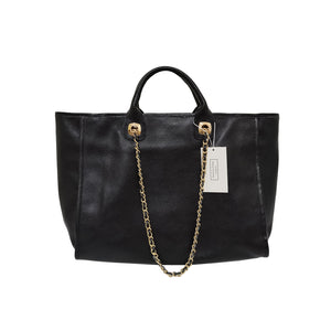 Women's leather Shopping Tote with chain shoulder strap by Tomorrow Closet
