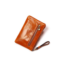 Load image into Gallery viewer, Women's waxed cowhide leather card holder Envelope design with zip by Tomorrow Closet