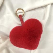 Load image into Gallery viewer, Heart Shape fur ball bag charm by Tomorrow Closet
