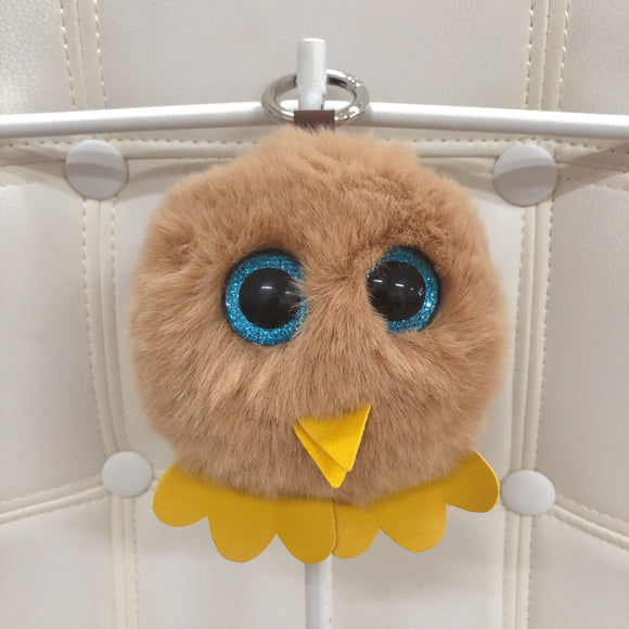 owl fur ball bag charm by Tomorrow Closet