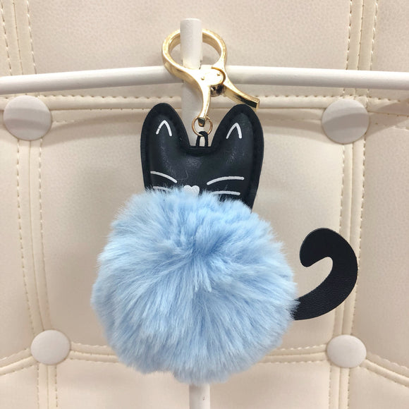 Cat with fur ball bag charm by Tomorrow Closet