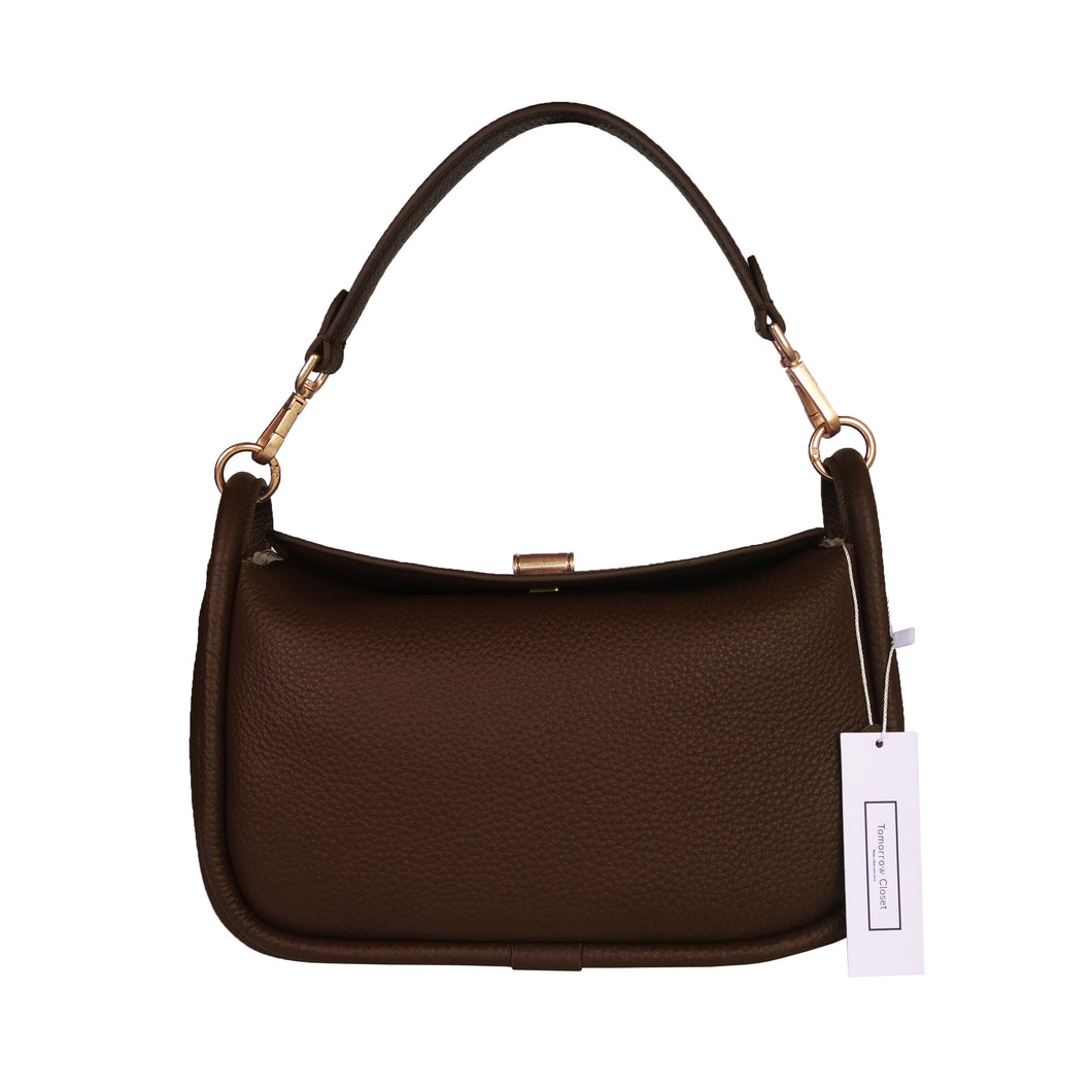 Women's genuine cowhide leather handbag Two Handle V2 design with two removable strap by Tomorrow Closet