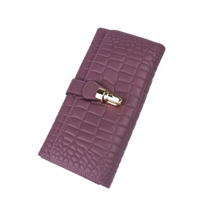 Women's cowhide leather wallet/purse Prya design in crocodile print by Tomorrow Closet