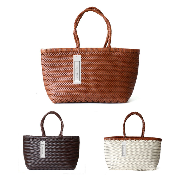 Women's handwoven genuine cowhide leather handbag chevron design shopping tote by Tomorrow Closet