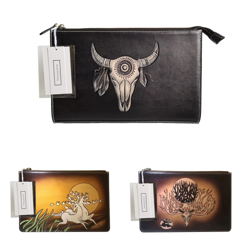 Unisex cowhide leather Clutch Engraved design by Tomorrow Closet