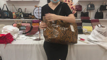 Load and play video in Gallery viewer, Women's leather Shopping Tote in python print