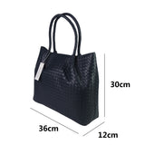 Women's genuine handwoven cowhide leather handbag top handle shopping tote with pigskin by Tomorrow Closet
