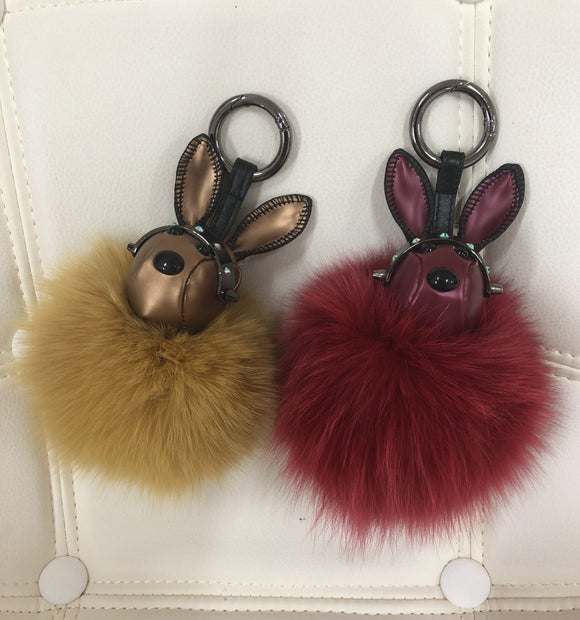 Leather rabbit with fur ball bag charm gold/maroon color by Tomorrow Closet