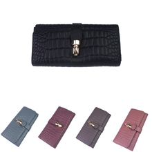 Load image into Gallery viewer, Women's cowhide leather wallet/purse Prya design in crocodile print by Tomorrow Closet