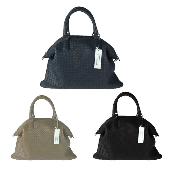 Women's and Men's unisex genuine handwoven lambskin handbag Ellipse design by Tomorrow Closet