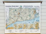 Vintage School Map of Connecticut and Rhode Island