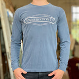 Preservation Company Logo Long Sleeve T-Shirt in Ice Blue