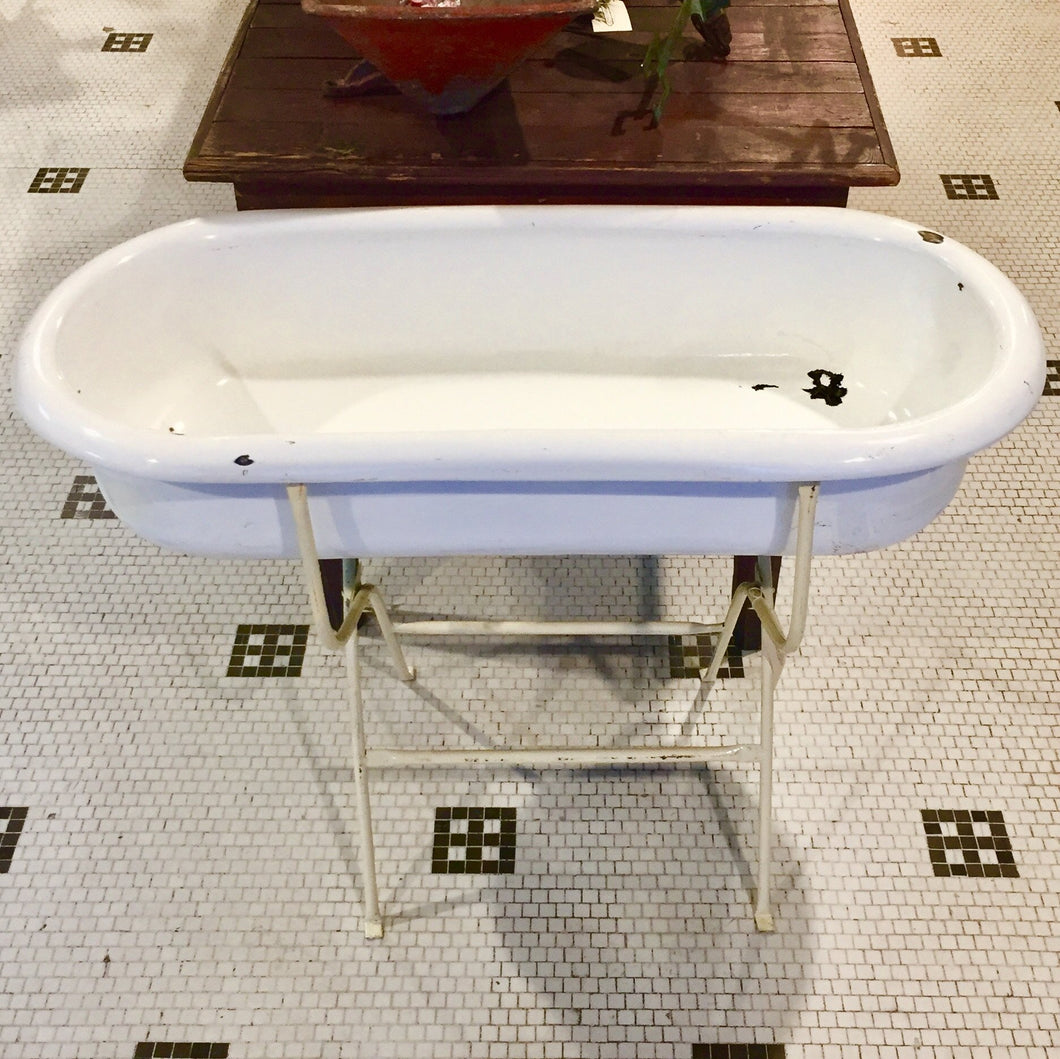 Vintage Baby Bathtub With Stand