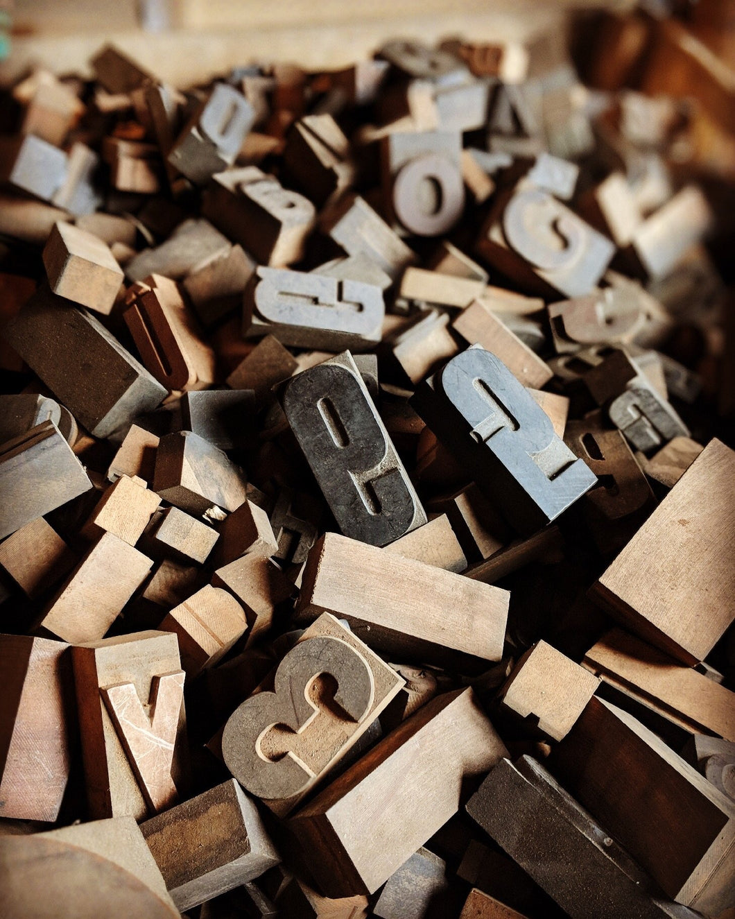 Old, Wood Typeset Letters & Numbers