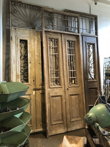 Entry Doors W/ Ironwork & Iron Transom