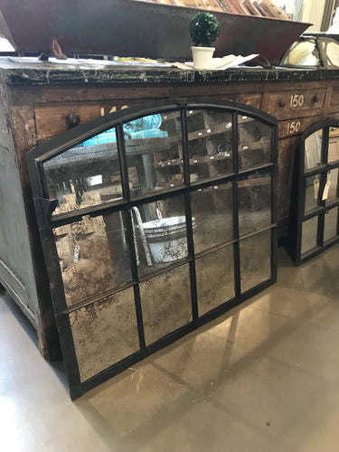 Large steel window mirror