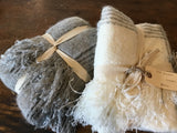 Lauren Fringe Throw Blanket in Ivory