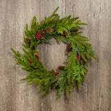 Natural Pine Cone and Berry Wreath