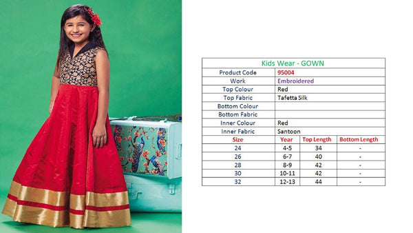 Kids Wear-Gown Red Tafetta Silk