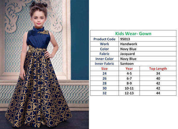 Kids Wear-Gown Navy Blue  Jacquard