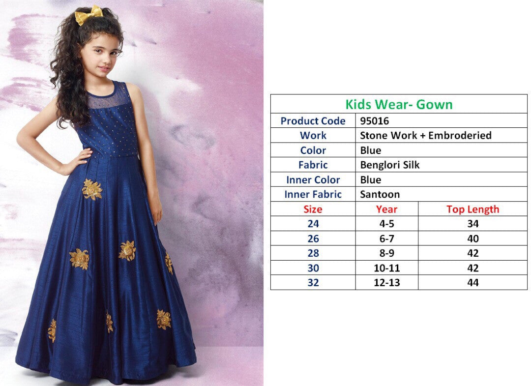 Kids Wear-Gown Blue Benglori Silk