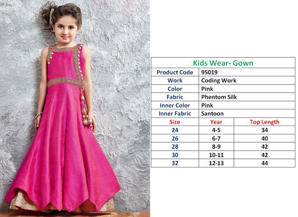 Kids Wear-Gown Pink Phentom Silk